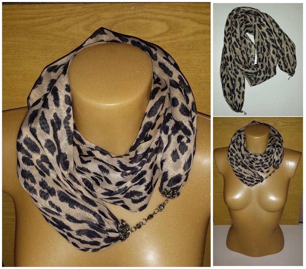 Одежда аксессуары для женщин шарф хомут снуд леопардовая расцветка на застёжке фото №1