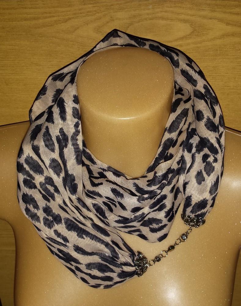 Одежда аксессуары для женщин шарф хомут снуд леопардовая расцветка на застёжке фото №2