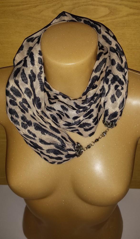 Одежда аксессуары для женщин шарф хомут снуд леопардовая расцветка на застёжке фото №3