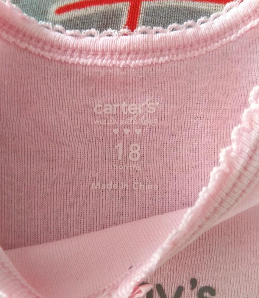 Розовый боди / бодик carter's с надписью р. 18 мес фото №3