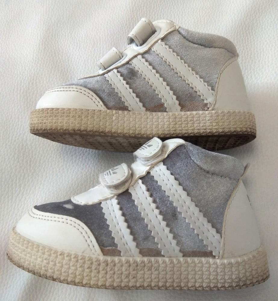 Серебряно-белые кроссовки adidas (реплика) р. 22 фото №5