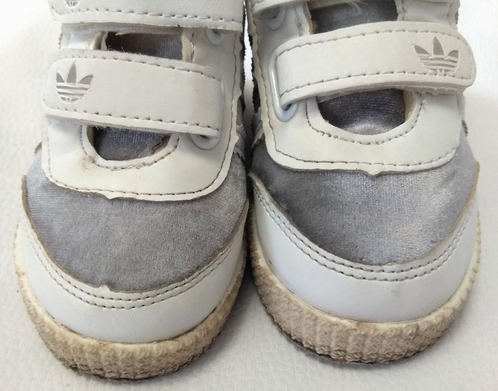 Серебряно-белые кроссовки adidas (реплика) р. 22 фото №6