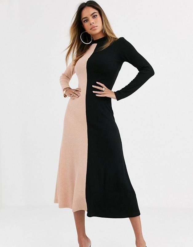 """Asos стильное двухцветное трикотажное платье в """"рубчик"""", l-ка фото №1"""