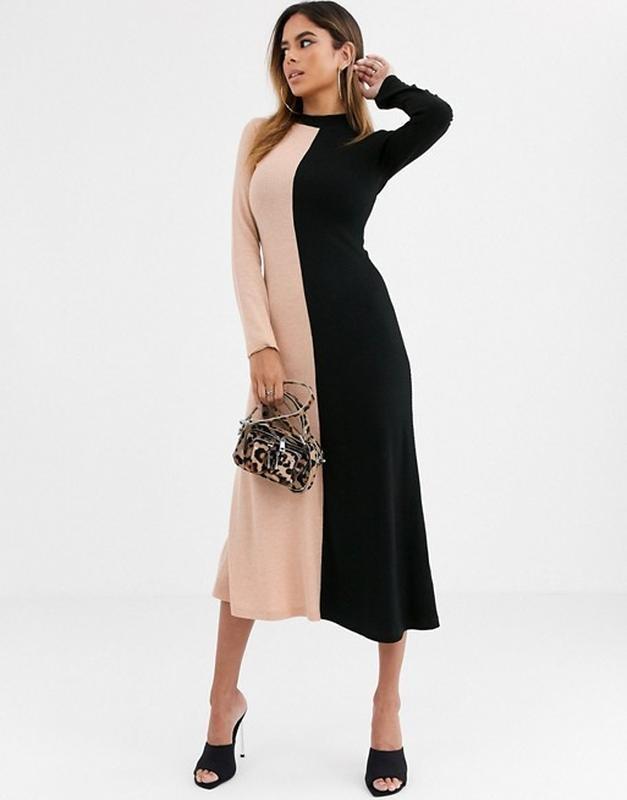 """Asos стильное двухцветное трикотажное платье в """"рубчик"""", l-ка фото №2"""