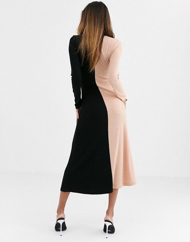 """Asos стильное двухцветное трикотажное платье в """"рубчик"""", l-ка фото №3"""