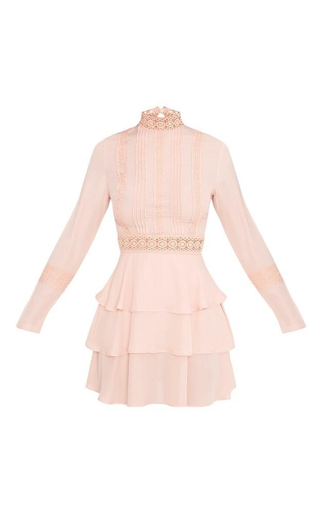 Prettylittlething шикарное пыльно-розовое платье с кружевом, р.16 фото №2