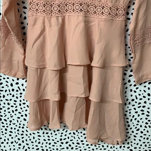 Prettylittlething шикарное пыльно-розовое платье с кружевом, р.16 фото №5