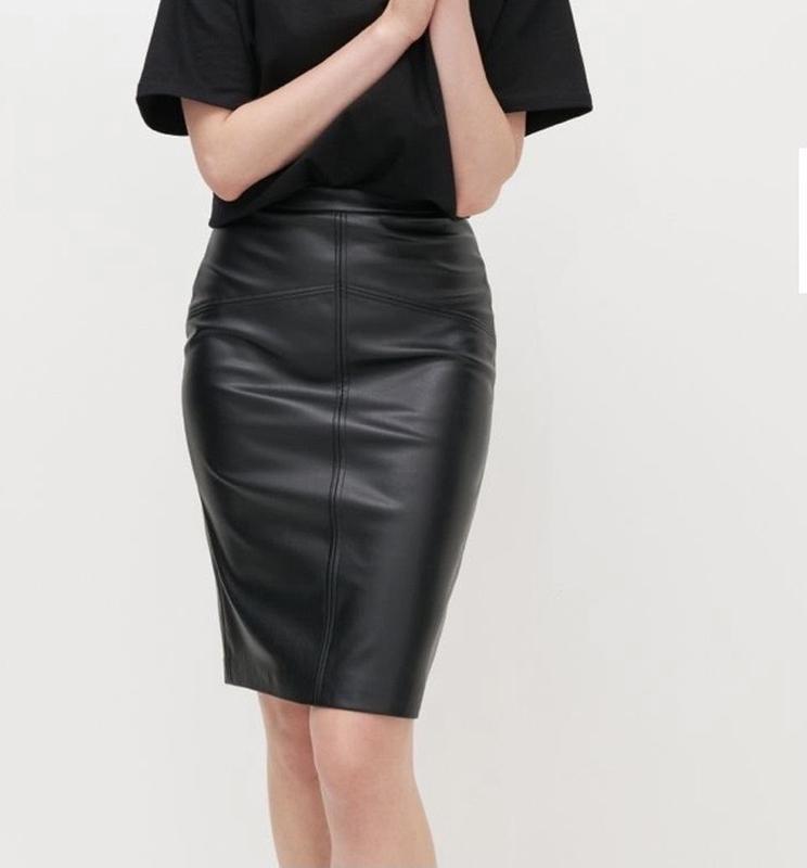 Юбка миди, юбка эко кожа, облегающая юбка, юбка вишневого цвета,vila,юбка карандаш фото №1