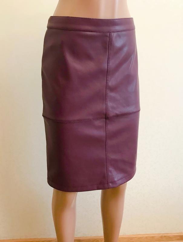 Юбка миди, юбка эко кожа, облегающая юбка, юбка вишневого цвета,vila,юбка карандаш фото №3