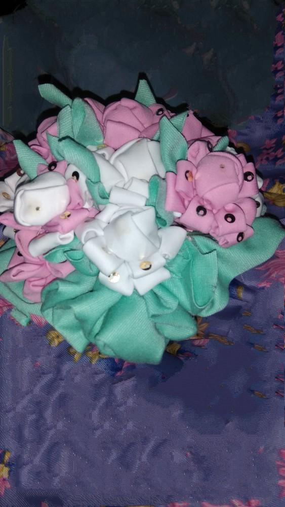 Букет роз из ткани декоративный. фото №1
