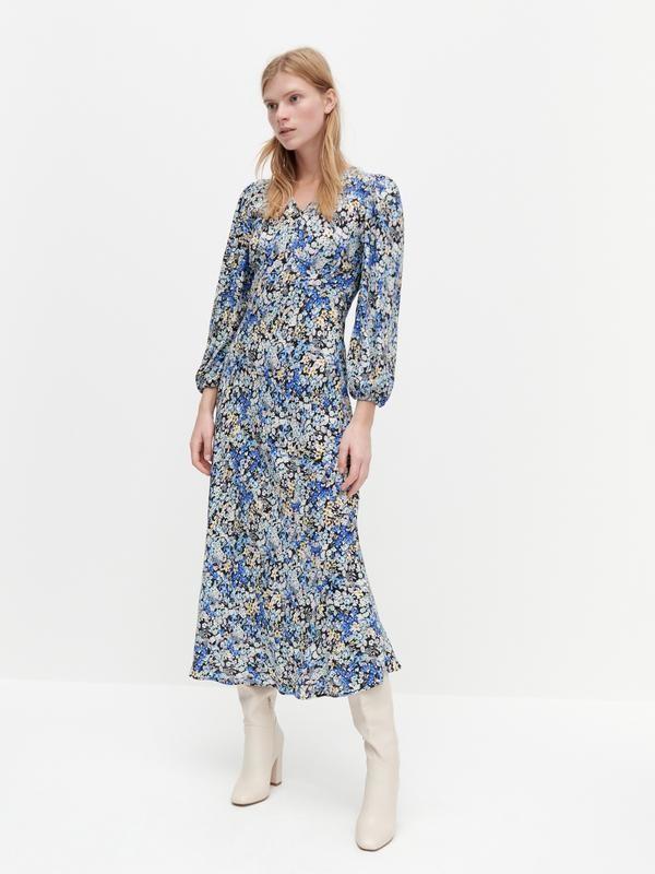 Reserved шикарное цветочное вискозное платье фото №1