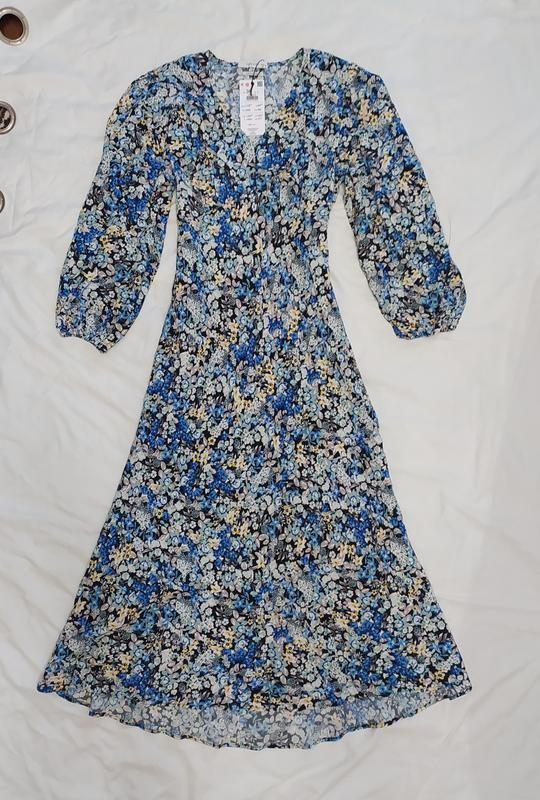 Reserved шикарное цветочное вискозное платье фото №6