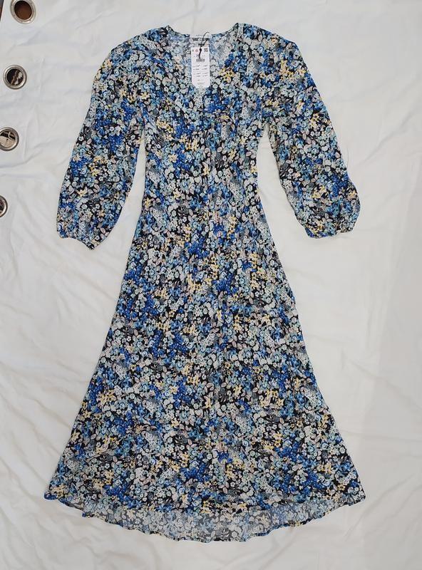 Reserved шикарное цветочное вискозное платье фото №7