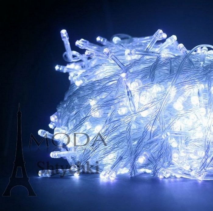 Гирлянда электрическая led 100, белая/неон/цветная, на 100 лампочек фото №1