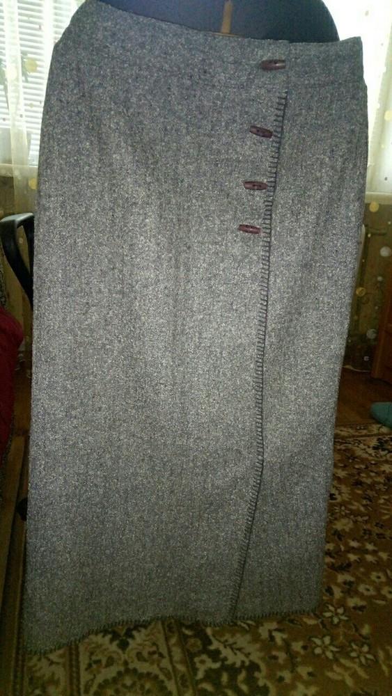 Тёплая женская длинная серая юбка 46 размера фото №1
